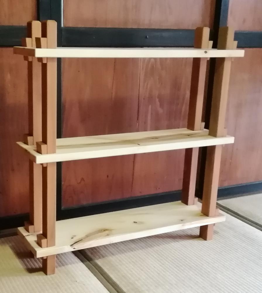 欅と栃の組み立て式棚